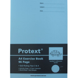 EXERCISE BOOK PROTEXT A4 96 PAGE QLD YEAR 3/4 TURTLE