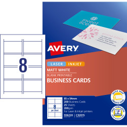 AVERY QUICK & CLEAN BUSINESS CARDS C32015-25 8 P/Sht Inkjet Matte ***
