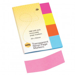 MARBIG PAGE MARKER NEON CLEAR 20X50 PACK OF 160