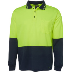 ZIONS HIVIS SAFETY WEAR 2 TONE FLUORO LONG SLEVE POLO SHIRT